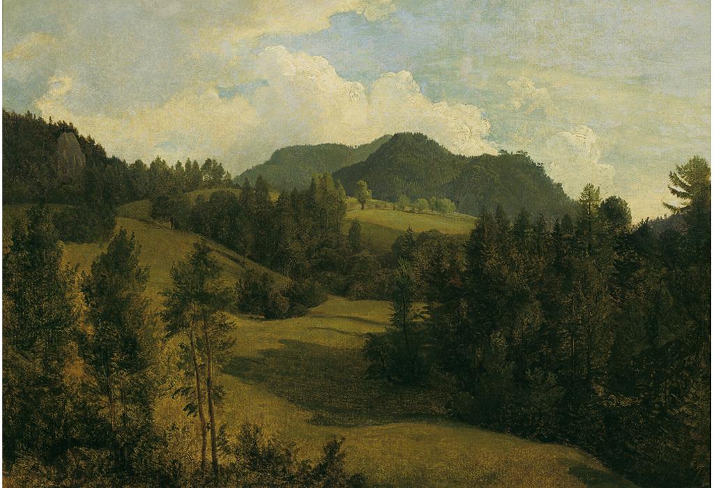 """Dieses Gemälde """"Landschaft bei Miesenbach"""" entstand um 1830."""