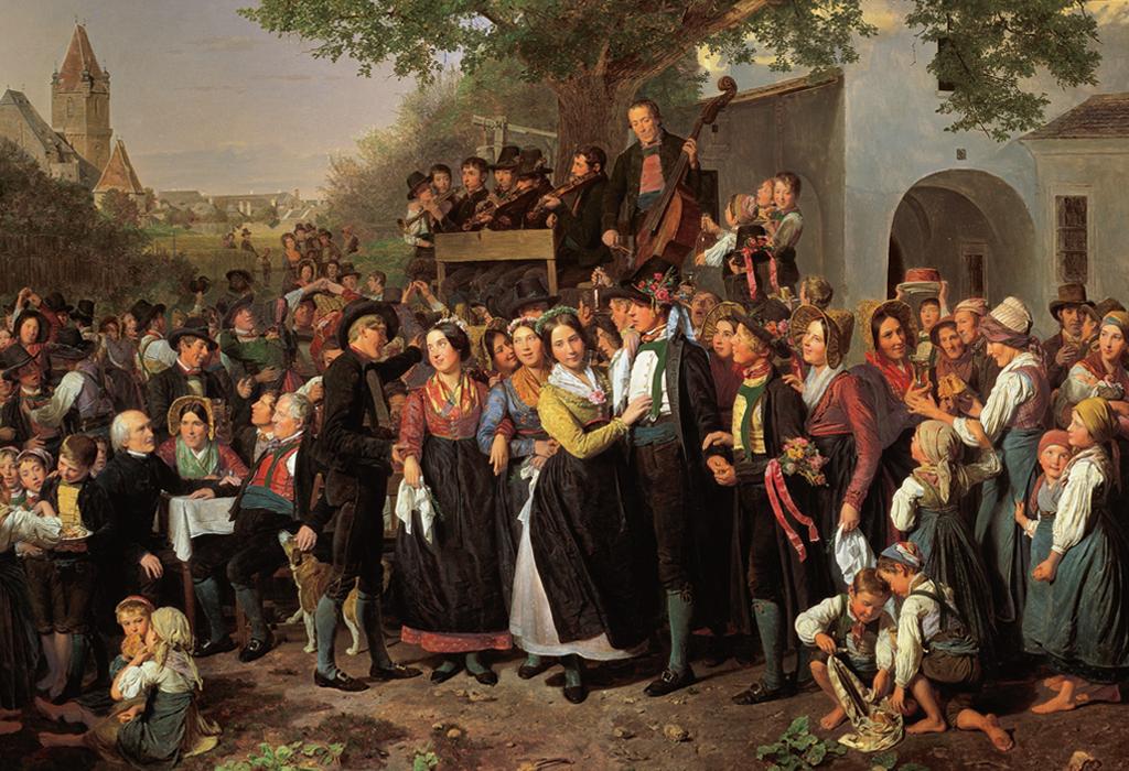 """Hier ist das im Jahre 1843 entstandene Ölbild """"Die Bauernhochzeit"""" von Ferdinand Georg Waldmüller (1793-1865) zu sehen."""
