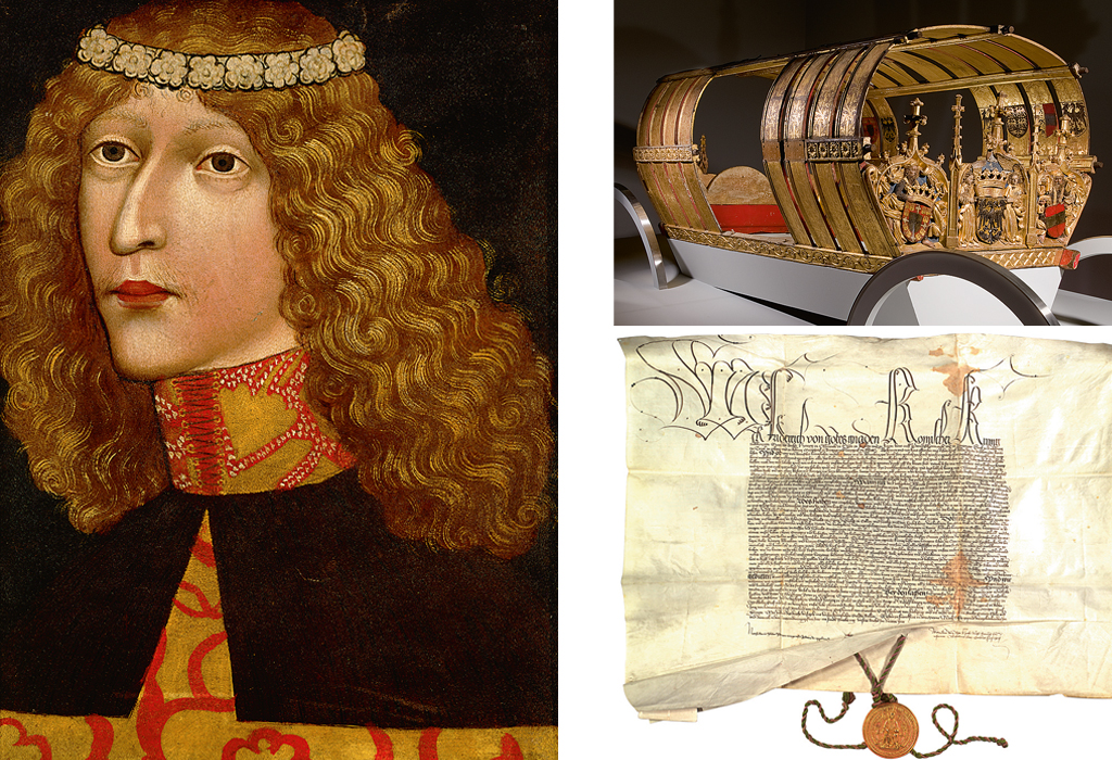 Links ist ein Bild von Ladislaus Postumus (1440-1457) zu sehen. Rechts sind ein Prunkwagen und eine Urkunde aus 1442 zur Bestätigung der Privilegien der Habsburger in Österreich zu sehen.