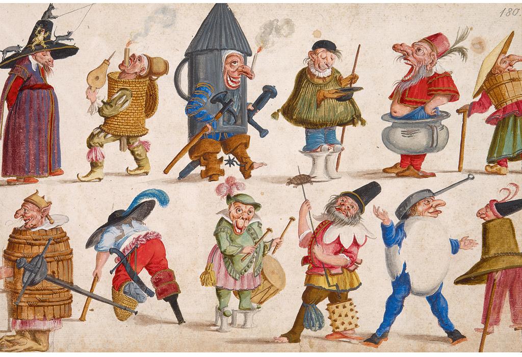 Dieses Bild zeigt Entwürfe von Kostümfigurinen vom Ende des 17. Jahrhunderts. Sie weisen typische Elemente grotesker Barockkunst auf: verzerrte Gesichtszüge, Karikaturen von Idioten bis hin zu Teufeln, phantastische, übertriebene Kleidungsstücke wie etwa Schmalztöpfe, Fässer oder Verbände für Pestkranke.