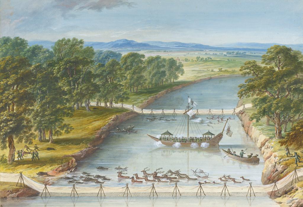 """Dieses Bild zeigt die """"Wasserjagd"""" von Lorenz Janscha (1749-1812). Es veranschaulicht die Szene einer Treibjagd auf Rot und Schwarzwild an einem Seitenarm der Donau."""
