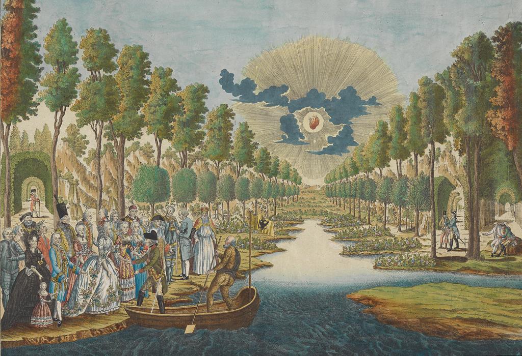 Dieser kolorierte Kupferstich von dem Wiener Grafiker und Verleger Hieronymus Löschenkohl (1753-1807) zeigt die Ankunft Josephs II. im Elysium.