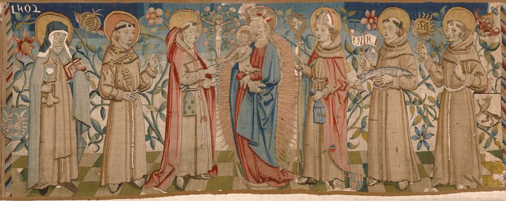 Der hier abgebildete Wirkteppich wurde 1502 in Schwaben gefertigt. Aufgrund der dargestellten Heiligen wird vermutet, dass er für ein Franziskanerkloster vorgesehen war.