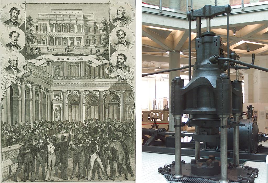 Links ist das Gebäude der Wiener Börse am Schottenring um 1877 zu sehen. Rechts sieht man die erste dampfhydraulische Schmiedepresse der Welt.
