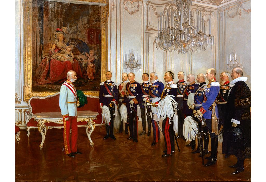 """Ein Bild von Franz Matsch (1861-1942): """"Die deutschen Bundesfürste huldigen Kaiser Franz Joseph I. am 7. Mai 1908 in Schloss Schönbrunn."""""""