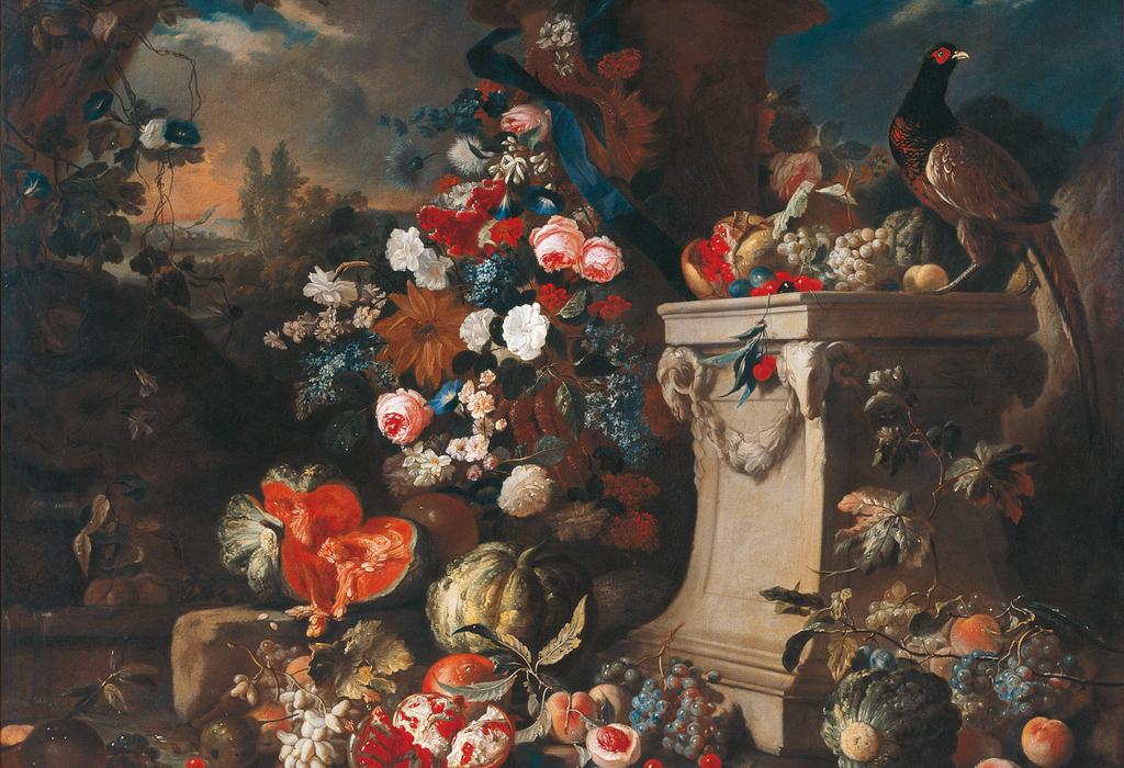 Dieses Stillleben, das sich im Besitz des Stiftes Seitenstetten befindet, malte Franz Werner Tamm (1658-1724) im ersten Viertel des 18. Jahrhunderts. Die Stilleben Tamms faszinieren seit jeher durch die Pracht der wirkungsvoll beleuchteten und in temperamentvoller, italienisch beeinflusster Maltechnik zur Schau gestellten Motive.