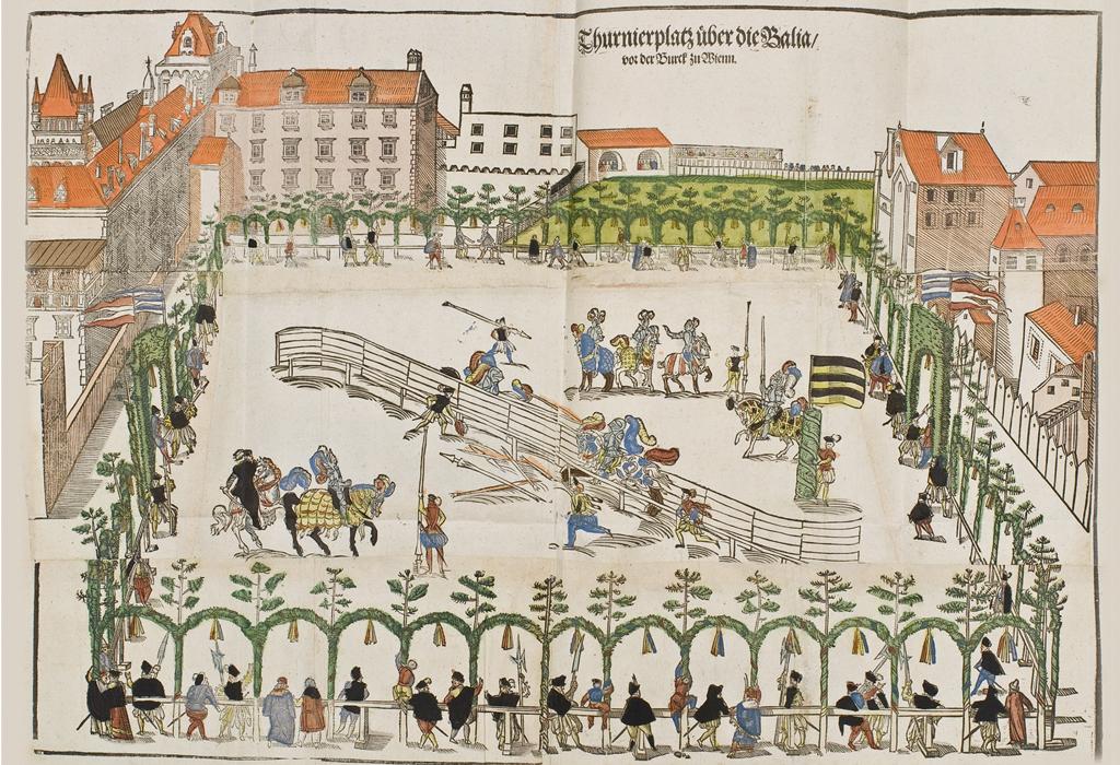 Dieses Bild zeigt Szenen eines Turniers anlässlich der Wiener Hochzeit zwischen Karl von Innerösterreich und Maria von Bayern im Jahr 1571.
