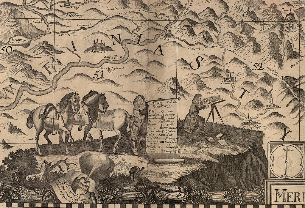 Hier ist ein Ausschnitt einer von Georg Matthäus Vischer (1628-1696) erstellten Kartensammlung über Niederösterreich, Oberösterreich und der Steiermark zu sehen. Auf dem hier abgebildeten Blatt 14 aus dem Jahr 1697 stellte er sich bei seiner kartographischen Arbeit am Messtisch mit Bussole im steirisch-niederösterreichischen Grenzgebiet dar.