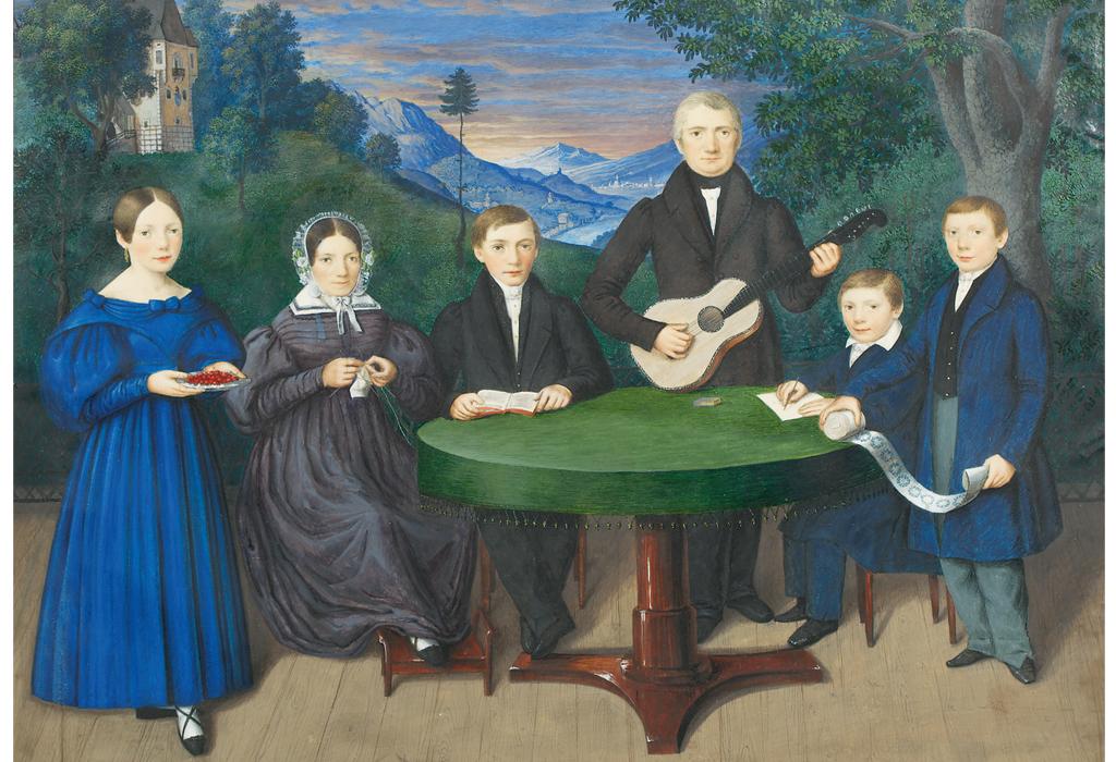 """Hier ist das Ölgemälde """"Familie Thomas Zelger"""" zu sehen. Biedermeier war die Blütezeit der Familienportraits."""