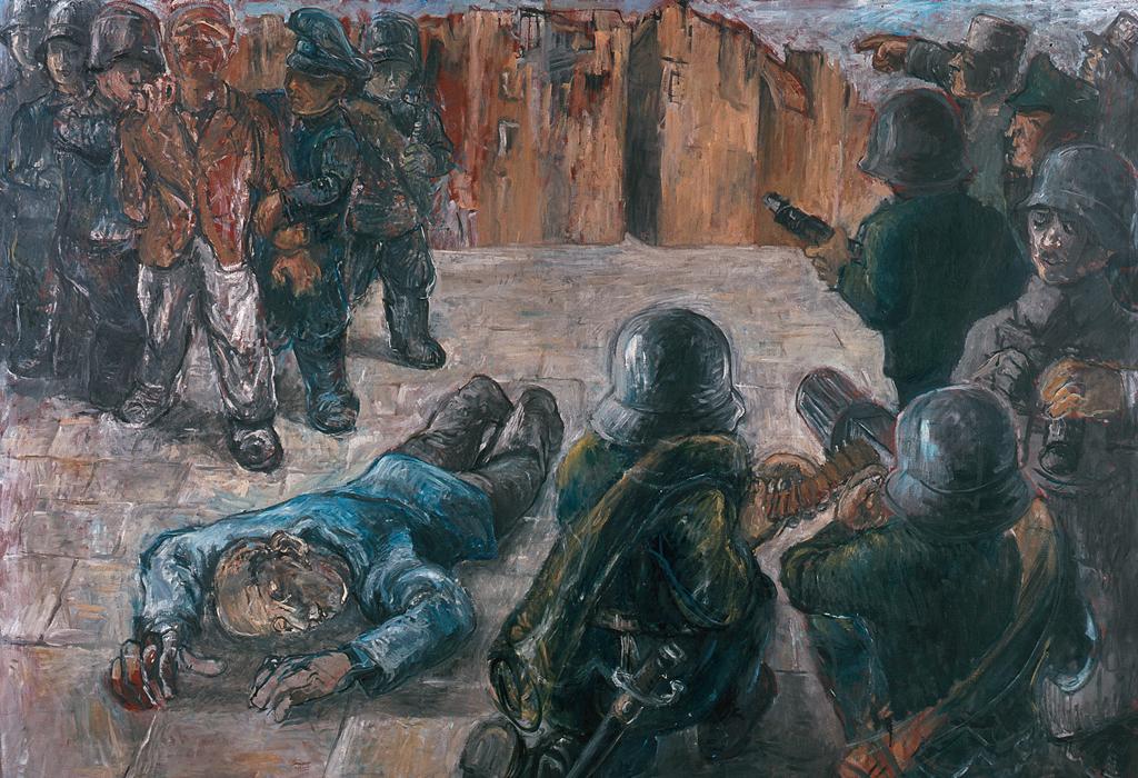 """In diesem Bild """"12. Februar 1934"""" erinnert sich der Wiener Maler Georg Eisler (1928-1988) ab seine Erlebnisse als Sechsjähriger in Wien."""