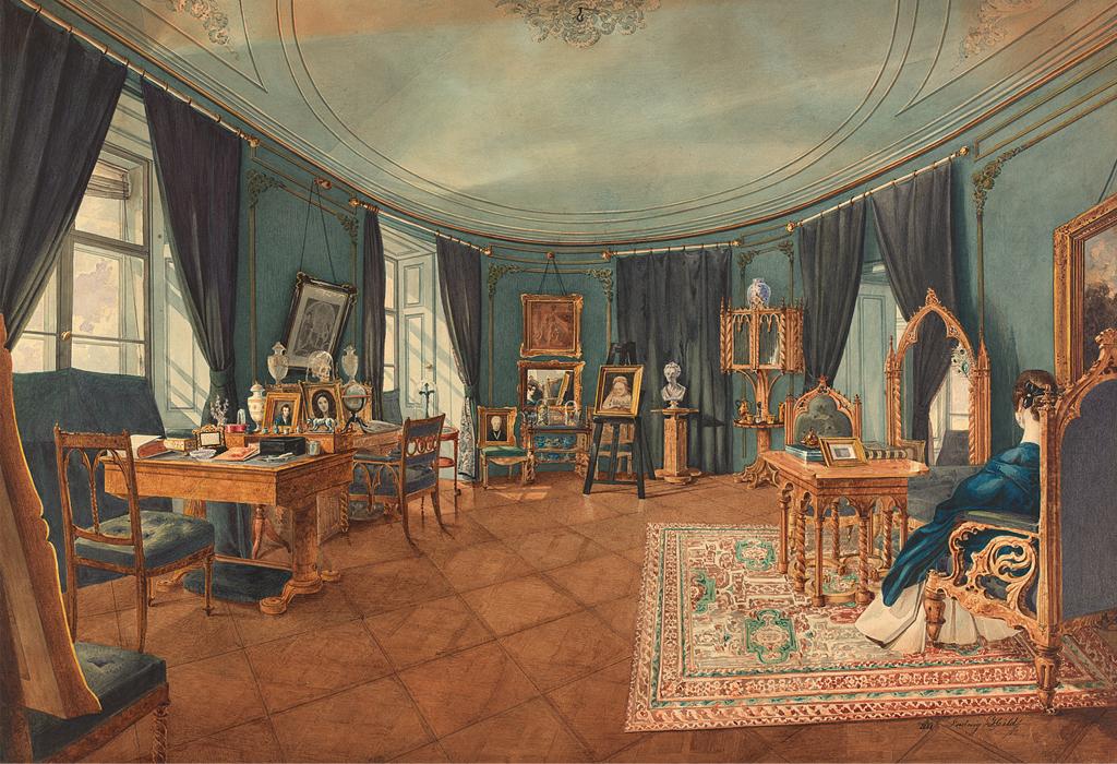 """Ein Bild von Ludwig Hild aus dem Jahre 1841 mit dem Titel """"Salon der Julie Kübeck"""". Es zeigt die Inneneinrichtung der Wiener Malerin."""