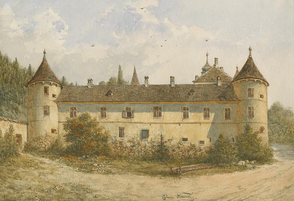 Das Bild von Eduard Krenn (1846-1902) zeigt das Schloss Waldreichs um 1860 in einem verwahrlosten Zustand. Nachdem die Herrschaft Waldreichs 1816 mit den Wetzlas vereinigt worden war, wurde das Schloss Waldreichs kaum bewohnt und nur mehr wenig instand gehalten.