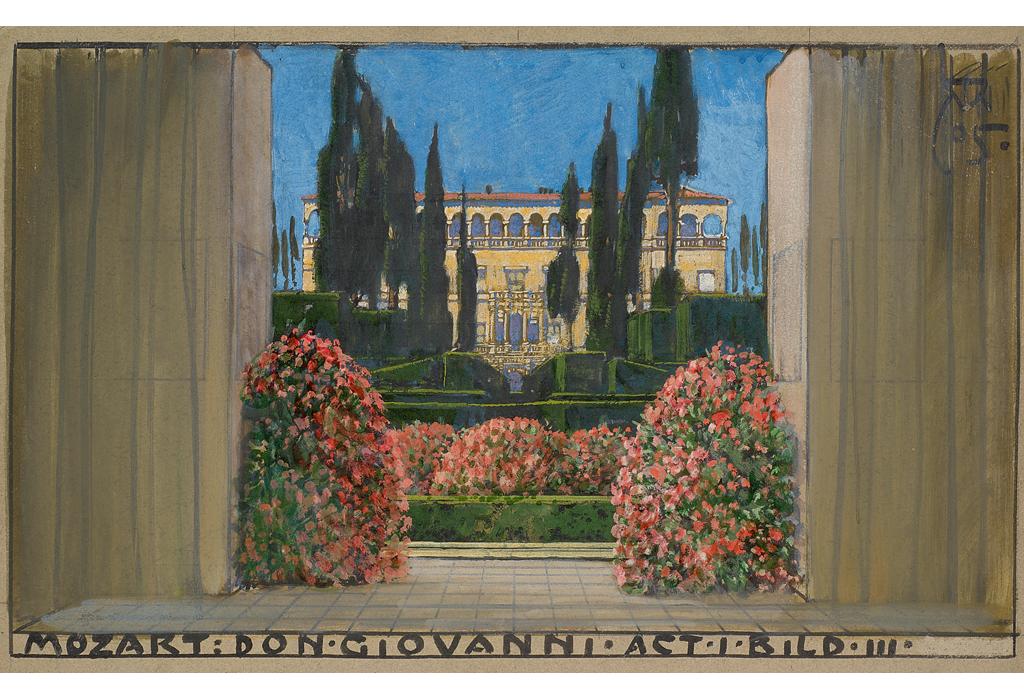 """Dieses Gemälde ist von Alfred Knoller (1864-1935) und dem Komponisten und Hofoper Direktor Gustav Mahler. Alfred Knoller entwarf für die Neuinszenierung des """"Don Giovanni"""" (1905) an der Wiener Hofoper Szeneraum und Kostüme. Er war Bühnenbildner, Grafiker und Maler."""