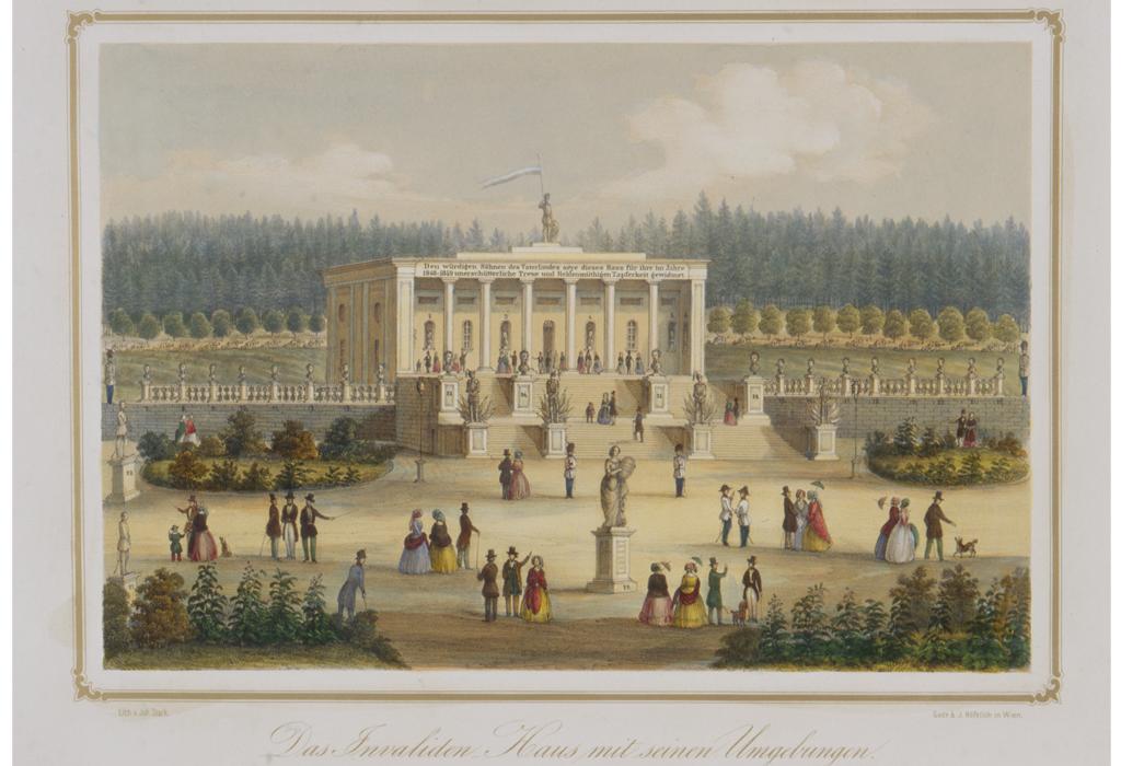 """Der Armeelieferant Joseph Gottfried Pargfrieder (1782-1863) kaufte 1832 das Schloss Wetzdorf und ließ dort ein Denkmal für die österreichische Armee errichten. Das hier abgebildete Gebäude wird heute als """"Säulenhalle"""" bezeichnet, war aber ursprünglich als Wohnhaus für Invalide gedacht (ein Offizier und zwölf Invalide)."""